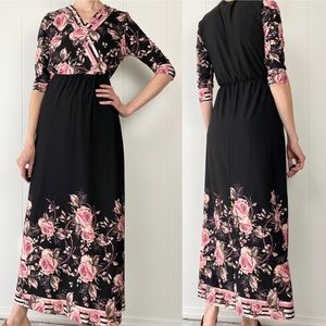 Kate & Mallory Black Pink Floral Maxi Dress XS
